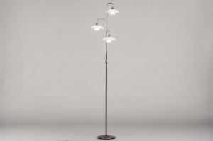 vloerlamp 14104 landelijk rustiek modern retro eigentijds klassiek art deco glas wit opaalglas mat glas staal rvs