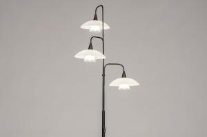 vloerlamp 14105 landelijk rustiek modern retro eigentijds klassiek art deco glas wit opaalglas mat glas metaal zwart mat