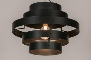 hanglamp 14131 landelijk rustiek modern retro eigentijds klassiek metaal zwart antraciet donkergrijs rond