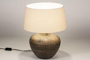 tafellamp 14136 landelijk rustiek eigentijds klassiek stof wit roest bruin brons