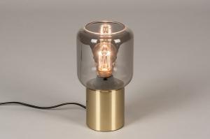 tafellamp 14138 landelijk rustiek modern klassiek eigentijds klassiek glas messing mat messing