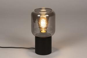 tafellamp 14139 landelijk rustiek modern eigentijds klassiek glas metaal zwart mat