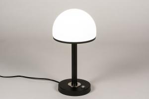 tafellamp 14145 modern retro art deco glas wit opaalglas metaal zwart mat wit rond
