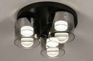 plafondlamp 14154 design modern glas metaal zwart mat