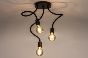 plafondlamp 14166 industrie look modern eigentijds klassiek metaal zwart mat