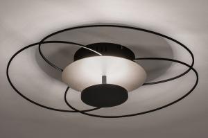 plafondlamp 14169 landelijk rustiek modern klassiek eigentijds klassiek metaal nikkel zwart mat staalgrijs rond