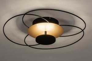 plafondlamp 14170 landelijk rustiek modern klassiek eigentijds klassiek metaal zwart mat goud rond
