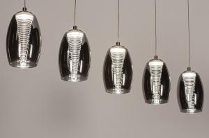 hanglamp 14176 design modern eigentijds klassiek glas staal rvs zwart grijs staalgrijs