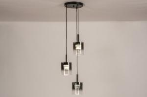 hanglamp 14177 design modern glas metaal zwart mat