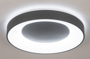 plafondlamp 14197 modern kunststof metaal wit mat grijs antraciet donkergrijs rond