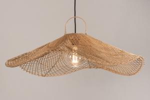 hanglamp 14198 landelijk rustiek modern retro riet naturel rond