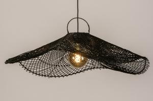 hanglamp 14199 landelijk rustiek modern retro riet zwart mat rond