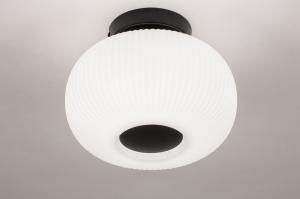 plafondlamp 14200 modern retro eigentijds klassiek art deco glas wit opaalglas metaal zwart mat wit mat