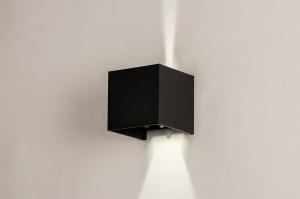 wandlamp 14203 design modern aluminium metaal zwart mat vierkant