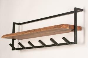 kapstok 14212 industrie look landelijk rustiek modern stoer raw hout metaal oldmetal (gunmetal) zwart mat bruin langwerpig rechthoekig
