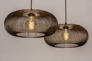 plafondlamp 14213 landelijk rustiek stoer raw eigentijds klassiek metaal zwart mat roest bruin brons koper rond langwerpig