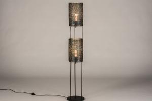 vloerlamp 14214 industrie look landelijk rustiek modern stoer raw metaal zwart roest bruin brons bruin langwerpig