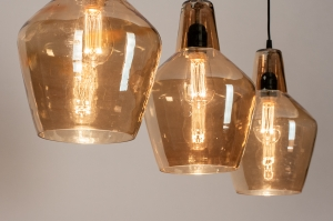 hanglamp 14216 industrie look landelijk rustiek stoer raw glas zacht geel metaal rond langwerpig