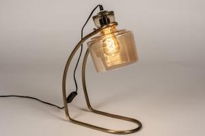 tafellamp 14217 industrie look landelijk rustiek modern stoer raw eigentijds klassiek glas brons roestbrons metaal roest bruin brons