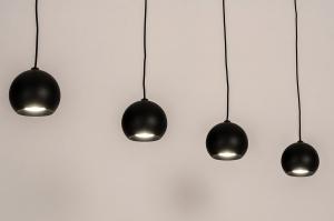 hanglamp 14251 modern retro eigentijds klassiek art deco metaal zwart mat langwerpig