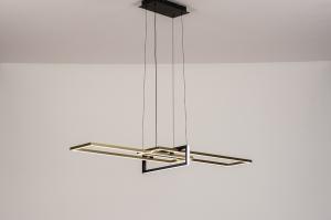 hanglamp 14259 modern eigentijds klassiek art deco messing geschuurd metaal zwart mat goud messing rechthoekig