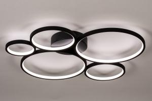 plafondlamp 14260 modern kunststof metaal zwart mat rond