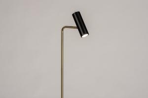 vloerlamp 14261 modern retro eigentijds klassiek messing geschuurd metaal zwart mat goud messing rond