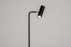 vloerlamp 14262 modern retro eigentijds klassiek metaal zwart mat rond