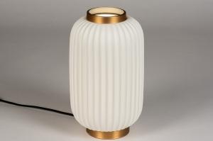 tafellamp 14268 modern eigentijds klassiek art deco metaal wit mat goud rond