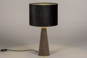 tafellamp 14269 modern klassiek eigentijds klassiek art deco stof metaal zwart glans messing taupe rond