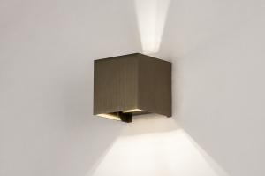 wandlamp 14270 landelijk rustiek modern eigentijds klassiek aluminium bruin vierkant