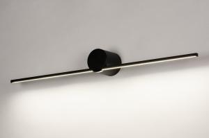 wandlamp 14274 design modern aluminium zwart mat rond langwerpig