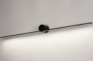 wandlamp 14275 design modern aluminium zwart mat rond langwerpig