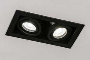inbouwspot 14278 industrie look modern stoer raw metaal zwart mat langwerpig