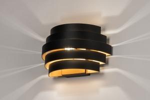 wandlamp 14290 modern retro klassiek eigentijds klassiek aluminium metaal zwart mat goud rond