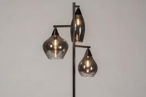 vloerlamp 14292 modern retro eigentijds klassiek glas metaal zwart mat grijs bruin rond