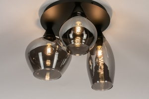 plafondlamp 14293 modern eigentijds klassiek art deco glas metaal zwart mat grijs bruin rond