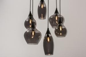 hanglamp 14295 modern eigentijds klassiek art deco glas metaal zwart mat grijs rond