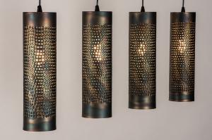 hanglamp 14325 landelijk rustiek modern metaal zwart mat goud bruin rond langwerpig