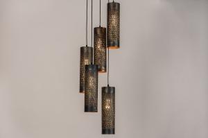 hanglamp 14326 landelijk rustiek modern metaal zwart mat goud bruin rond