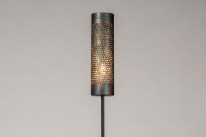 vloerlamp 14327 landelijk rustiek modern eigentijds klassiek metaal zwart mat goud bruin rond