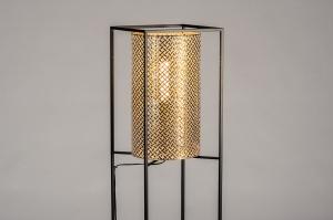 vloerlamp 14329 landelijk rustiek modern metaal zwart mat goud rond rechthoekig