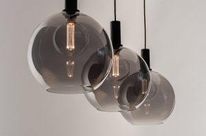 hanglamp 14332 modern retro glas metaal zwart mat grijs rond langwerpig