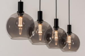 hanglamp 14333 modern retro glas metaal zwart mat grijs rond langwerpig