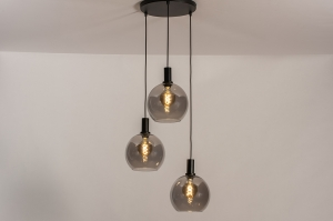 hanglamp 14335 modern retro eigentijds klassiek glas metaal zwart mat grijs rond langwerpig
