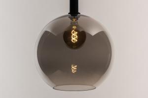 hanglamp 14336 modern retro eigentijds klassiek glas metaal zwart mat grijs bruin rond
