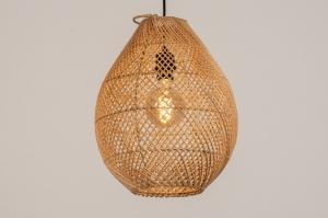 hanglamp 14359 landelijk rustiek modern retro metaal riet zwart mat bruin naturel rond