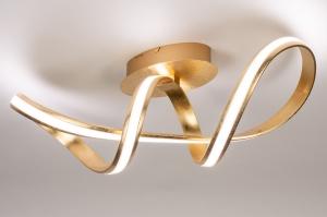 plafondlamp 14361 design modern eigentijds klassiek messing metaal goud messing langwerpig ovaal