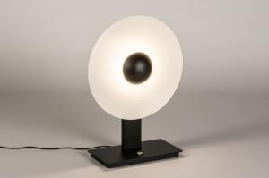 tafellamp 14854 sale design modern metaal zwart mat wit mat rond