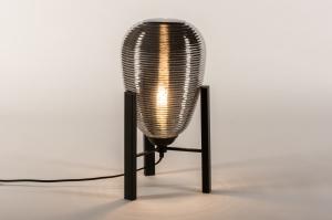 tafellamp 14921 industrie look design modern eigentijds klassiek glas metaal zwart mat grijs rond
